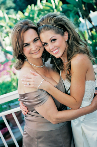bride-with-mother-of-bride-in-light-brown-satin-dress
