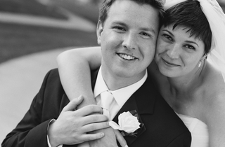 black-and-white-photo-of-bride-with-short-hair-and-groom
