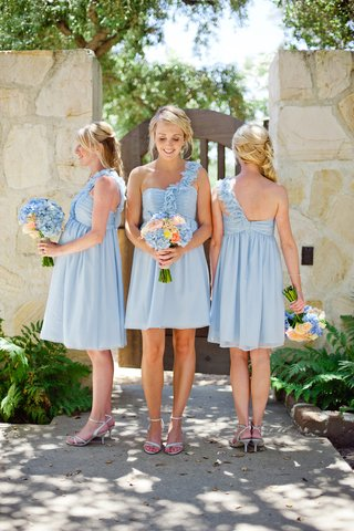 blonde-bridesmaids-in-short-asymmetrical-gowns