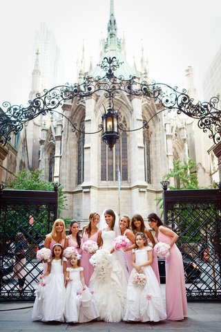 pink-bridesmaids-and-flower-girls