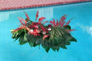 red-and-green-leaves-and-flowers-float-on-pool