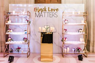 """""""Black Love Matters"""" Escort Card Display wedding reception centerpiece wall lighted sign photos of couples that inspire couple"""