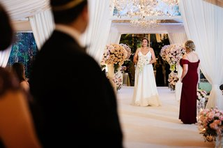wedding ceremony drapery four seasons hotel los angeles at beverly hills v neck wedding dress view of groom