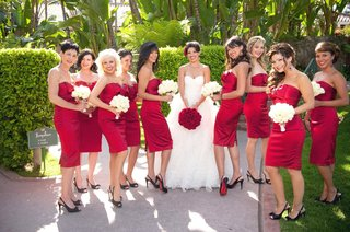 bride-in-ball-gown-and-bridesmaids-in-short-dress