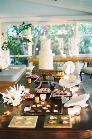 wood-table-topped-with-cupcakes-and-seashells