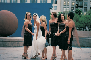 dark-colored-dress-with-shawl-for-bridesmaids