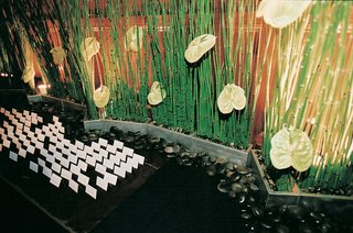 bamboo-and-black-rocks-behind-place-cards