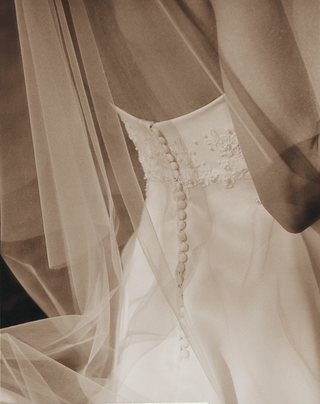 sepia-toned-wedding-dress-and-veil