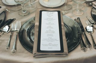 black-and-white-menu-with-gold-print-on-gold-napkin