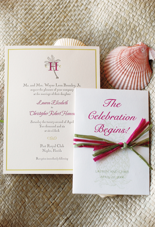 pink-and-green-sea-themed-invitations-and-pink-seashell