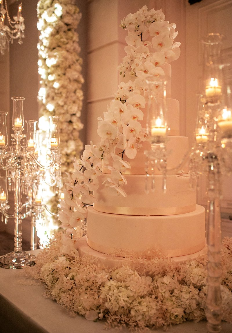 White Orchid Flowers on Wedding Cake