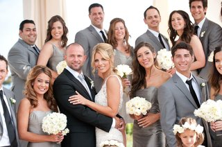 bridesmaids-in-grey-dresses-and-groomsmen-in-suits