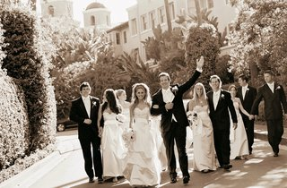 sepia-tone-picture-of-wedding-party-at-beverly-hills-hotel