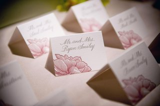 pink-flower-design-on-seating-cards-with-grey-calligraphy