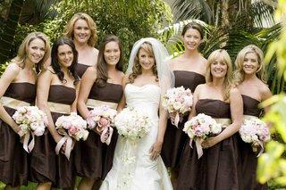 short-brown-strapless-bridesmaid-dresses