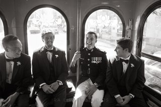 black-and-white-photo-of-marines-on-trolley