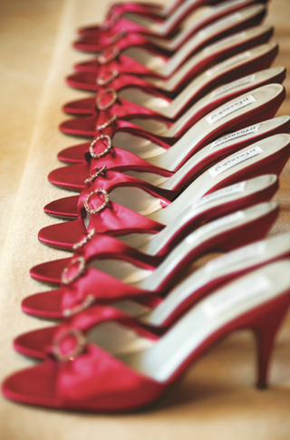 row-of-pink-open-toe-sandals-for-bridesmaids