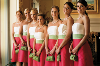 color-blocked-bridesmaid-dresses-in-pink-white-and-green