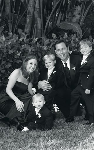 black-and-white-portrait-of-ring-bearers-and-parents