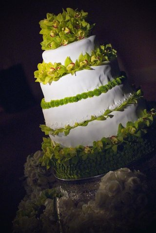 white-wedding-cake-with-green-orchid-decorations
