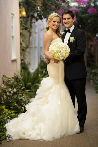 mermaid-wedding-dress-and-fitted-black-tuxedo
