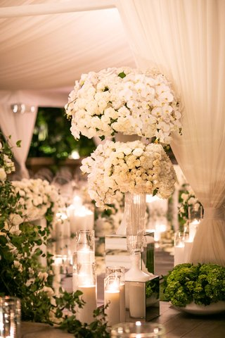 ceremony decor white flowers at entrance the hidden garden geller events ivory rose orchid glass ribbed vase