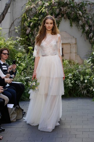 monique-lhuillier-spring-2017-anastasia-wedding-dress-tier-layer-skirt-with-lace-camisole-and-bolaro