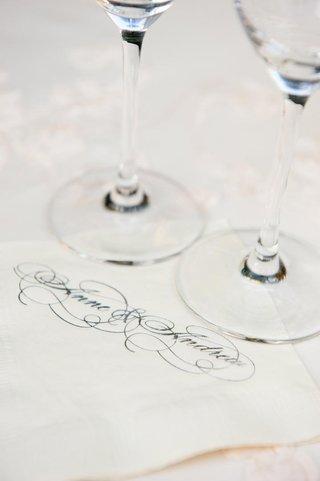 white-beverage-napkins-with-wedding-couple-names