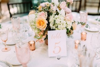 wedding-reception-table-number-on-acrylic-lucite-stand-rose-gold-pink-rose-white-hydrangea-flowers