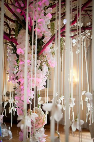 wedding-place-card-table-decorated-with-a-tree-decorated-with-white-orchids-and-ribbons