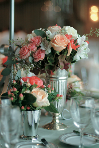 low-centerpieces-in-silver-vases-with-pink-and-white-flowers
