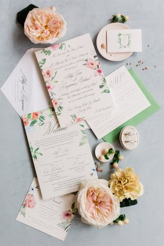 wedding invitation suite with cheery flower print pink flowers greenery welcome invite garden rose