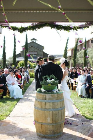 bride-and-groom-in-front-of-vineyard-wedding-altar