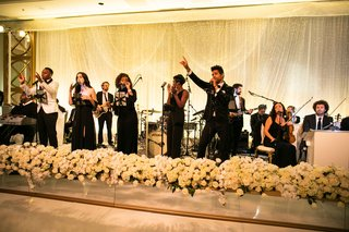 wedding reception flowers white rose hydrangea live band at wedding dance floor geller events the hidden garden