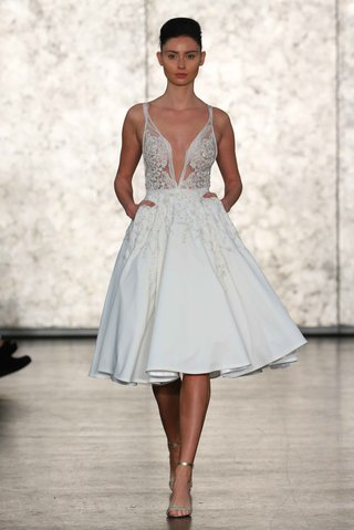 inbal-dror-fall-winter-2016-structured-short-wedding-dress-with-deep-v-neck-and-silver-beading