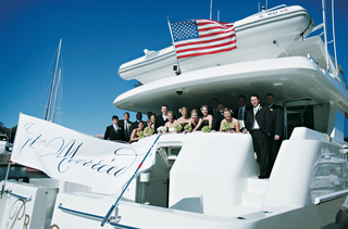 charter-ferry-with-american-flag-and-just-married