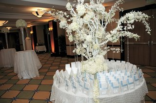 round-table-covered-in-white-tablecloth-with-tree