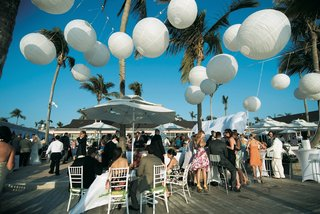 round-white-paper-lanterns-hung-above-outdoor-reception