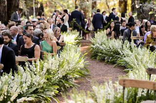 fern-and-white-larkspur-flowers-on-dirt-aisle-at-ceremony