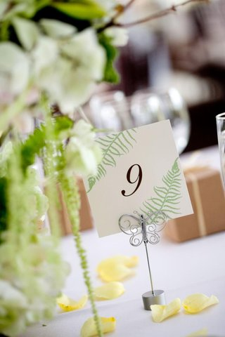 wedding-reception-table-number-decorated-with-fern-fronds