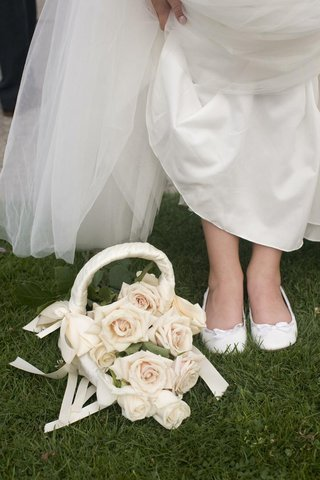 white-flower-girl-shoes-and-rose-filled-basket