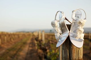 stuart-weitzman-bridal-shoes-on-vineyard-fence