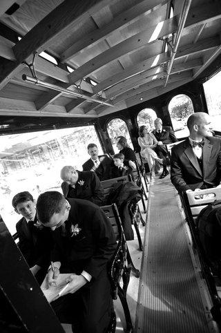 black-and-white-photo-of-wedding-transportation