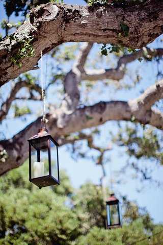 rectangular-lantern-suspended-from-tree-by-twine