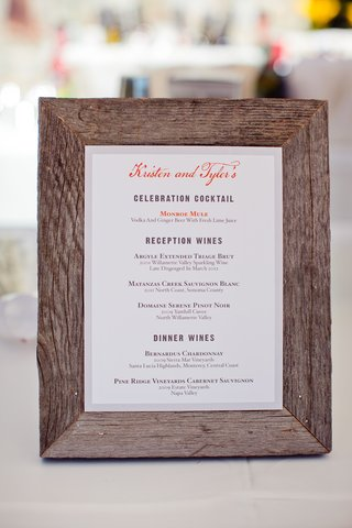 wood-frame-displaying-white-card-with-drinks