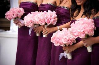 purple-bridesmaid-dresses-and-rose-nosegays