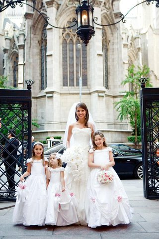 ivory-bridal-gown-and-white-flower-girl-dresses