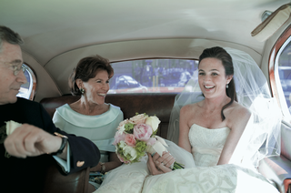 mother-of-the-bride-and-white-and-brown-limo-interior