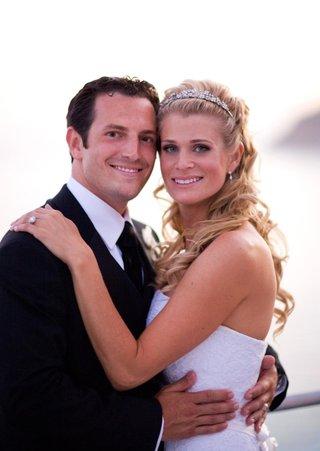 strapless-wedding-dress-and-sparkling-tiara