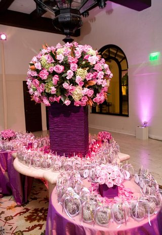 purple-taffeta-and-pink-flowers-on-gift-table